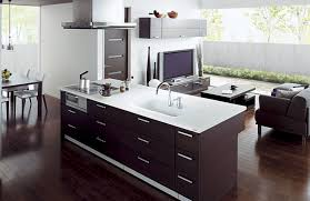 Open Kitchen Design With Living Room Awesome Open Kitchen Design With Wooden Storage And Sleek
