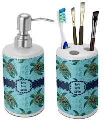 Sea Turtle Bathroom Accessories Sea Turtles Bathroom Accessories Set Ceramic Personalized