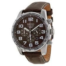 seiko brown dial chronograph brown leather mens watch ssc227 zoom