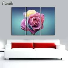wall decor paintings red rose canvas painting 3 piece wall art picture for wall decor canvas
