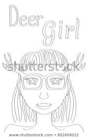 Deer Girl Coloring Page Cute Girl Stock Vector Royalty Free