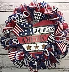 patriotic wreaths for front doorPatriotic Wreath God Bless America Wreath Patriotic Summer