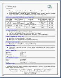 Chartered Accountant Resume Format Resume Format Pinterest