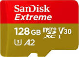 Sandisk 128GB Extreme microSD UHS-I Card with Adapter - U3 A2