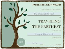 Make An Award Certificate Online Free Free Printable Awards For The Family Reunion