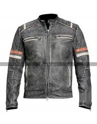 cafe racer distressed vintage retro black motorcycle leather jacket