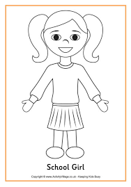 Small Picture School Girl Colouring Page