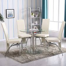 amazon mecor 5 pc round gl dining table set with 4 chairs
