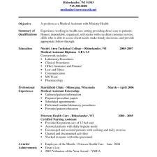 Resume Samples Free Resume Samples Free Medical Assistant Resume Examples No Experience 10