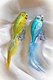 Wellensittich Glasvogel Lauscha Christbaumschmuck Blau