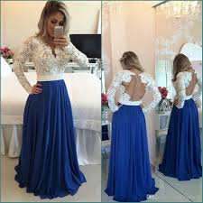 Hot 2017 Evening Dresses Long Sleeves Lace Pearl Beaded Blue Prom