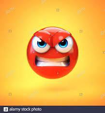 Angry emoji isolated on yellow ...