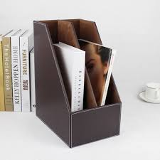 Cardboard Magazine File Holders 100 slot wooden leather desktop file book stand box magazine rack 76
