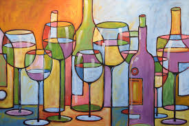 wine painting abstract wine dining room bar kitchen art time to relax