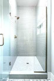cost of walk in shower with gray glass subway tiles and white marble tiled to build