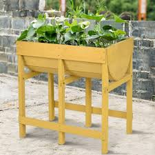 costway raised wooden v planter elevated vegetable flower bed free standing planting u0m4un2v