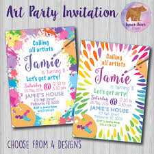 Paint Party Designs Art Painting Party Invitation Choose From 4 Colourful