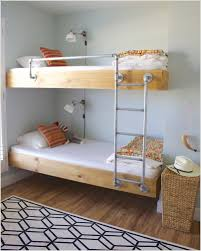 Bedroom, Floating Wooden Bunk Bed With Metal Pipes Ladder And Rail Rattan  Storage Wall Mounted