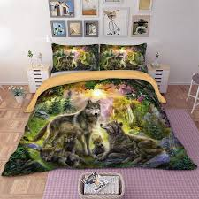 wolf family bedding set twin full queen king au super king uk double size animal duvet cover pillow cases hd print bedclothes duvet cover full duvet king