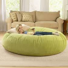 Funiture, Large Bean Bag Chairs In Corn Color On Cream Fur Rug Mixed With  Cream ...