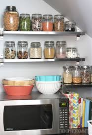 home and furniture glamorous kitchen pantry shelves in white stacked with labeled mason jars transitional