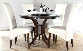 dark wood dining table white chairs black and 6 ideas round room furniture winsome roun
