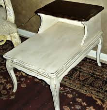vintage 2 level provincial side table gorgeous dark stained wood top with silky laquer finish french country cream shabby chic finish vintage look with