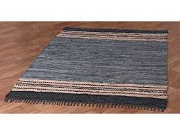 st croix matador leather chindi rectangular gray area rug
