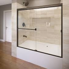 basco 60 in w x 57 in h oil rubbed bronze frameless bathtub