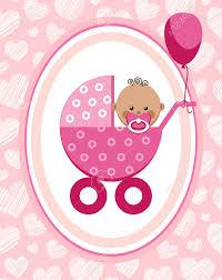 Newborn Congratulation Card Newborn Baby Girl Greeting Card Africa Pink Hearts Vector