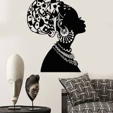 vinyl wall decal african girl black woman in turban native stick on black woman silhouette wall art with best african wall decal products on wanelo