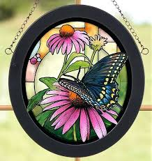hanging glass art swallowtail erfly on flower stained glass oval art hanging panel hanging blown glass hanging glass art