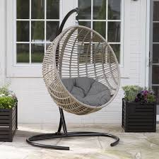 island bay resin wicker kambree rib hanging egg chair with cushion and stand hayneedle