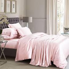 silk duvet cover set light pink