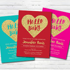 Valentines Day Invitations Awesome Valentine Baby Shower Invitation Red And Gold Glitter Heart