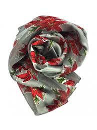 scarf candycane poinsettia w gift box by crown poinsettia silver