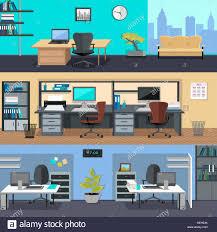 modern interior office stock. Interior Office Room. Illustration For Design. Set Of Modern With Designer Desktop In Flat Stock T