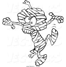 Small Picture Vector of a Cartoon Dancing Mummy Coloring Page Outline by