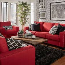 red living room decor