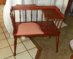 Gossip Chair Vintage Frankson Mahogany Wood Telephone Phone Table Telephone Bench Seat
