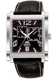 Прямоугольные наручные <b>часы Orient</b> с черным браслетом ...