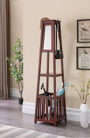 Cherry Finish Wood Hall Tree Coat Rack Kendall Black Cherry or White Wood Contemporary Entryway Hall Tree 55