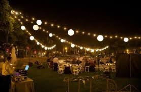 cheerful outdoor party with decorative string lights featuring sphere lamps
