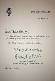 gert s royals princess eugenie birthday reply  this reply came 46 days after sending my letter which is on the longer side but still quite normal for replies from british royals