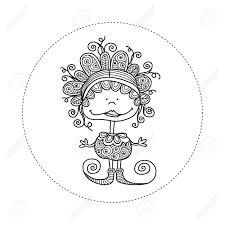 かわいい楽しい落書き人形イラスト クレイジー カール笑顔まんじ落書きストライプ シューズ