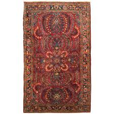 antique persian sarouk oriental rug in small size with red field fl design