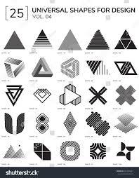 Geometric Shapes For Design Set 25 Universal Geometric Shapes Design Stock Vector