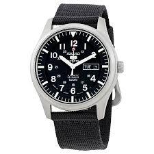 seiko 5 black dial blue fabric strap automatic men s watch seiko 5 black dial blue fabric strap automatic men s watch snzg15j1