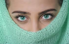 woman female portrait model green color clean fashion blue lip makeup eyebrow eyelash close up human