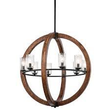 wooden globe chandelier